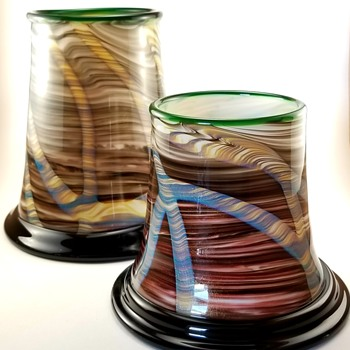 Orient & Flume Vases by David Smallhouse - Art Glass