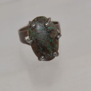 Prong Set Sterling Turquoise Ring Mexico - Unknown Turqoise - Native American
