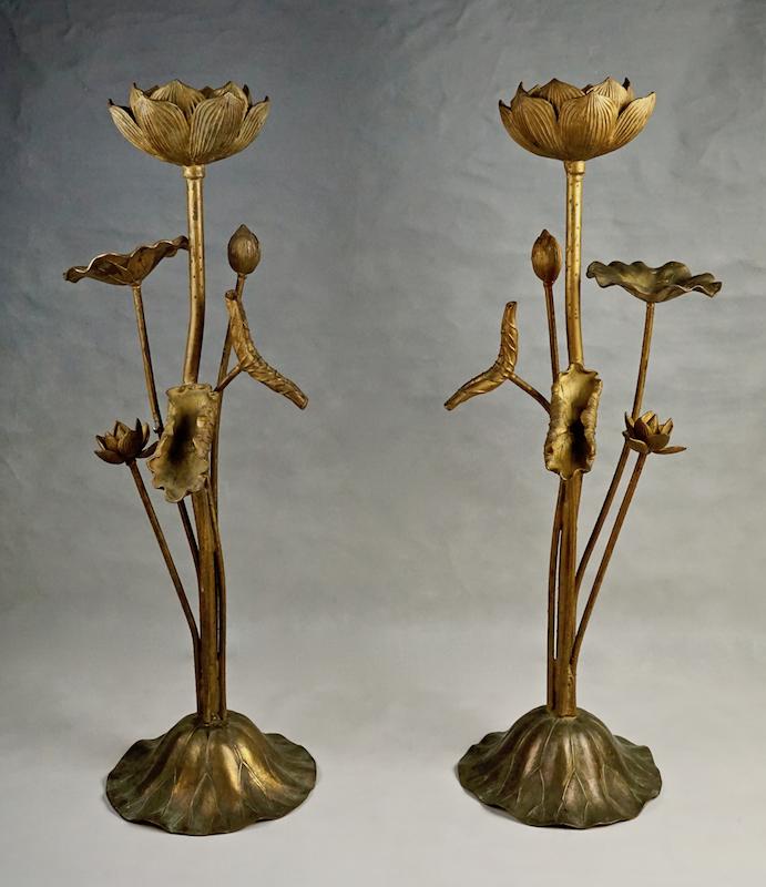Pair Of Large Gilt Metal Lotus Flower Lamp Bases Collectors Weekly