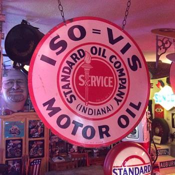 """Standard Oil...ISO=VIS Motor Oil double sided porcelain 30"""" sign - Petroliana"""