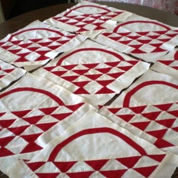 Turkey Red Basket Quilt Blocks,set of 20 Blocks,Handstitched - Rugs and Textiles