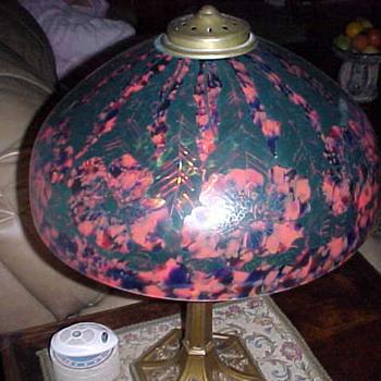 Czech Lamp with Black Paint Overlay - Art Glass