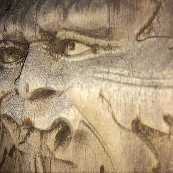 nice antique green man wooden  plaque - Furniture