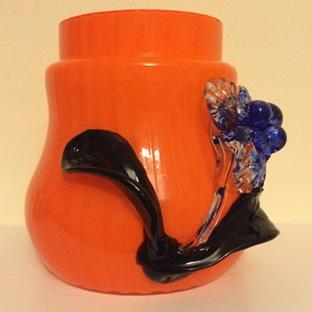Czech Art Deco tango urn with applied flower - Art Glass