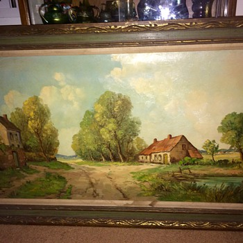 Vintage Antique Original Oil Painting By H.Brent.  French Countryside 120x70cm - Fine Art