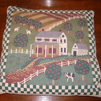Antique Embroidered Pillow - Folk Art