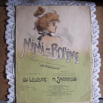 1909 Sheet Music. ART NOUVEAU STYLE Pretty As REAL ART, - Art Nouveau