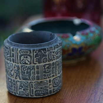 Cup Carved with Mayan Influence - missing cap - Fine Art