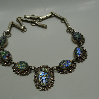 Vintage Mexico Foil Art Glass Necklace - Fine Jewelry
