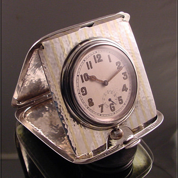 Sterling Silver & 18k Gold Longines Travel Clock With Wind Indicator - Clocks
