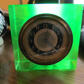 Newhaven Clock Mounted in Uranium Glass