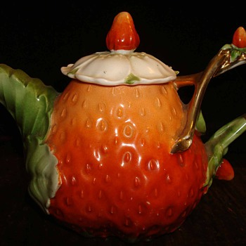 Fine Porcelain Strawberry Teapot - China and Dinnerware
