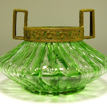 Loetz Texas Green with Brass decoration, circa 1905 - Art Glass