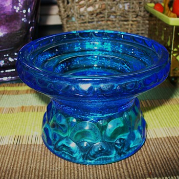 Blue Glass Candleholder - Glassware