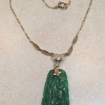 Gold Diamond And Jade Pendant - Fine Jewelry