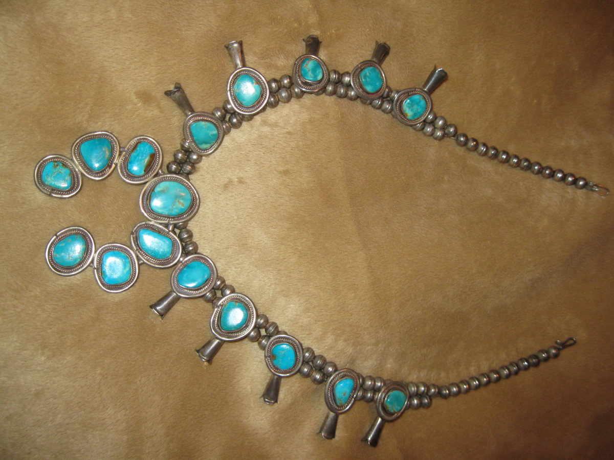 8c5d9feaa356 Antique Sterling Silver Turquoise Navajo Squash Blossom Necklace ...