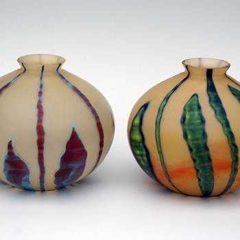 A Pair of Kralik Bambus ball vases  - Art Glass