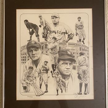Hand Drawn Limited Edition Babe Ruth Art Work Lithograph - Baseball