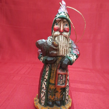 carved wood Santa ornament - Christmas