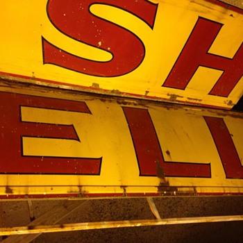 Large porcelain Shell sign!