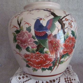 Porcelain Asain Vase Ginger jar Hand Painted Bird Flowers Details - Asian