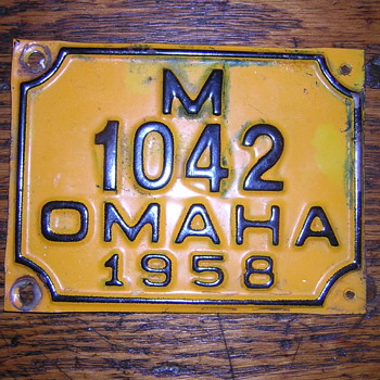 Help? Omaha 1958 license plate - Signs