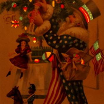 Uncle sams and green Santa postcards