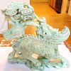 Qilin from Qing Dynasty, Jade 2.8 pounds, and Cherub holding money sack jadeite 9.3 ounces