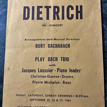 Marlene Dietrich with Burt Bacharach - Flier / Small Poster - Posters and Prints