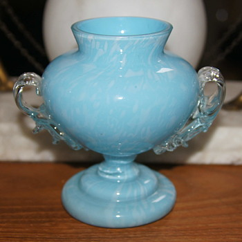 Blue Variegated Welz Vase - A Short Variation of the Trophy Vase Form - Art Glass