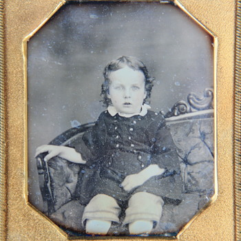 Sixth-Plate Daguerreotype Portrait of a Young Blue-Eyed Boy on Settee - Photographs