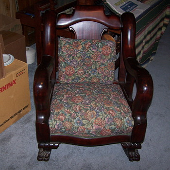 1800's German made mahogany rocking chair - Furniture