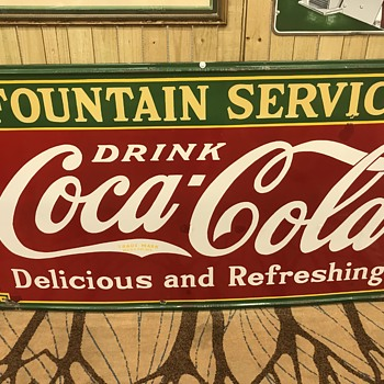 8ft  Coca Cola fountain service sign  - Coca-Cola