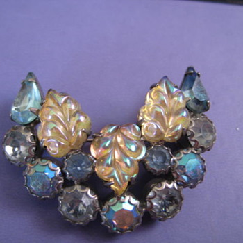 WEISS signed blue crescent brooch - Costume Jewelry