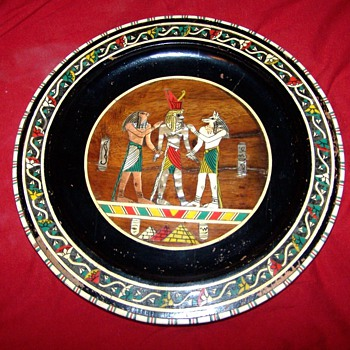 Wooden plate egyptian style - China and Dinnerware