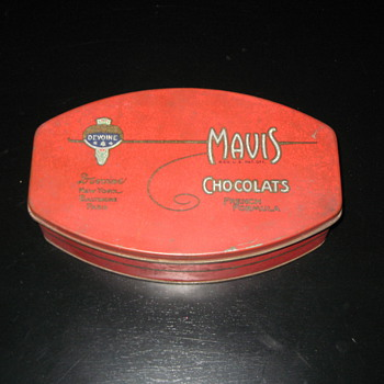 Mavis chocolate tin - Advertising