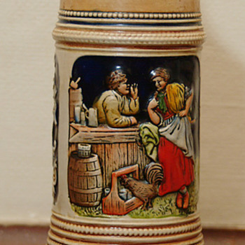 German Stein with music box on bottom,song - Breweriana