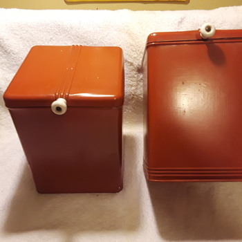 pair of old (red!) tin kitchen canisters - Kitchen
