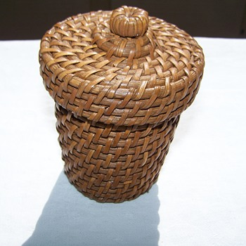 Antique/ Vintage Miniature Hand Wooven Basket with Top