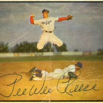 Peewee Reese Autographed Baseball Card - Bowman Color; 1953 - Baseball