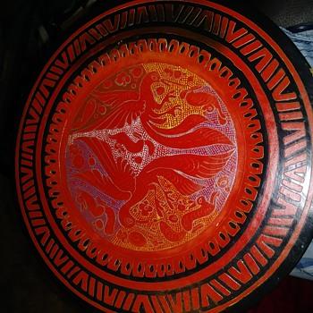 Wooden Art Plate  - Asian