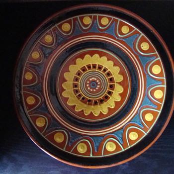 slib technique earthware plate - Pottery
