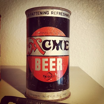 Acme Beer Keglet (flat top beer can) - Breweriana