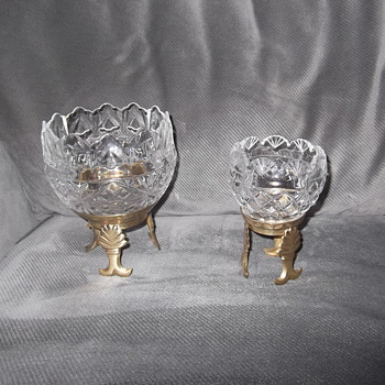 Royal Irish crystal candle holders on Brass stands - Glassware