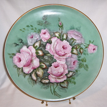Large German Hand Painted tray, signed and marked - Pottery