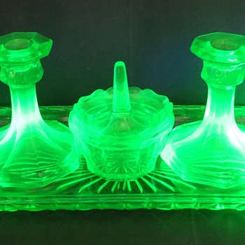 Uranium Glass Dressing Table Set