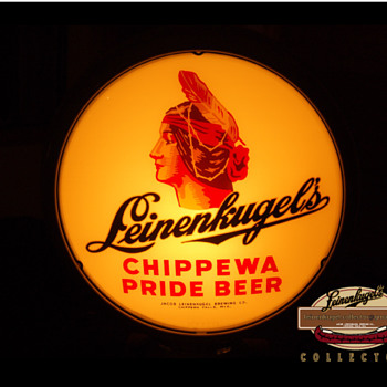 The Story Behind This Ornamental Leinenkugel's 'Chippewa Pride' Beer Lighted Porcelain (ROG) Glass Sign - Breweriana