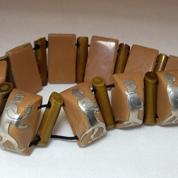 Celluloid and silver overlay monkey bracelet - Costume Jewelry