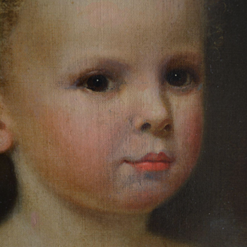 19th Century Antique Oil Portrait Of A Little Girl - Fine Art