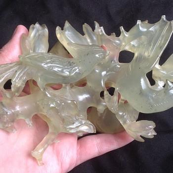 Carved birds. Nephrite Jade?